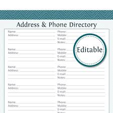 Printable Address Book Template Excel Address Phone Directory Fillable Printable Pdf Instant