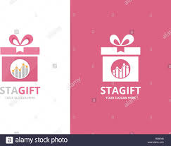 Gift Chart Template Vector Graph And Gift Logo Combination Diagram And Present