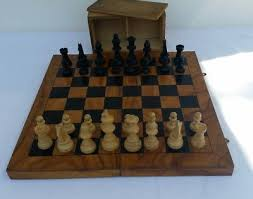 vintage wooden chess set in box no board excellent condition