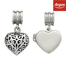code for las charm bracelets a76da ae91c official link up sterling silver heart drop charms set of 2 from the argos on