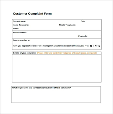Employee Complaint Form Template Customer Complaints Procedure Free ...