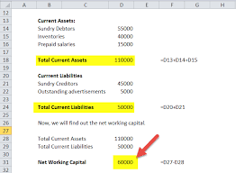 net working capital formula in excel