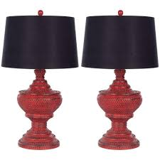 distressed red chinese red urn lamp set of 2