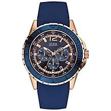 guess watches designer watches from guess h samuel guess men s rose gold plate blue silicone strap watch product number 3427889