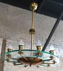 1940s italian brass and glass chandelier