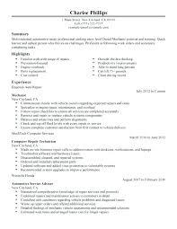 Auto Mechanic Resume Templates Auto Mechanic Description Auto Mechanic Resume Template Financial
