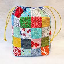 Quilt Kits for Sewing & Patchwork by Tikki London UK & A Modern Scrappy Patchwork Drawstring Bag Material Kit Adamdwight.com