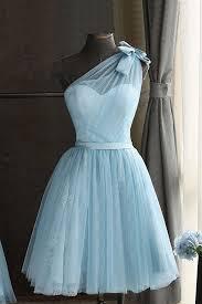 Short Formal Light Blue Dress Baby Blue Tulle One Shoulder Short Prom Dress Bowknot Party