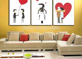 3 panels wall art love story sweet lovers cartoon canvas painting on wall art lovers with gold striped canvas wall art painting custom quote art love super tech