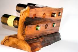 wooden countertop wine rack