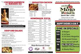 Restaurant To Go Menus Food And Beer Menus Get Your Mojo On Get Your Mojo On