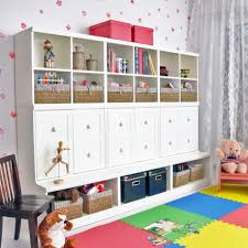 ... Kids desk, Lovely Kids Room Decoration With White Ikea Toy Storage Plus  Colorful Carpet And ...
