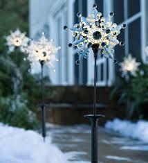 Snowflake Solar Christmas Lights Solar Snowflake Stakes Set Of 2 Decorating With Christmas
