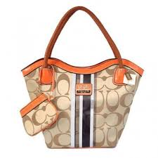 Coach Braided In Signature Small Khaki Totes BEQ