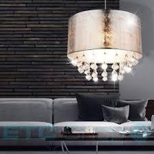 Pendel Lampe Hänge Leuchte Schlafzimmer Textil Kristall Behang
