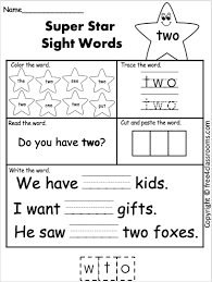 Practice number recognition, letter recognition, and reading sight words with these color by code. Free Sight Word Worksheets For Kindergarten Two Free4classrooms