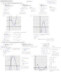 graphing quadratic functions in vertex form worksheet answers