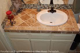 porcelain on diagonal ct glass mosaic backsplash