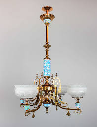 image of long antique gas chandeliers