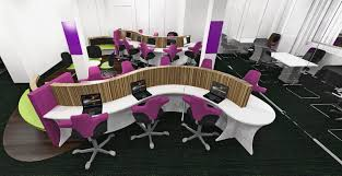 3d office design. One Of Our 3D Office Designs With Snake Desking And Purple Chairs 3d Design