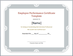 Format For Certificate Of Employment Performance Certificate For Employees Template Employment