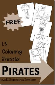 Coloring book kids camping in forest. Free Pirate Coloring Sheets For Kids