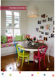 colorful dining chairs room eclectic with bold colors home tour the work of anna spiro bright bazaar by will taylor