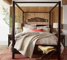 Farmhouse Canopy Bed, Queen, Espresso stain - Pottery Barn Wooden ...