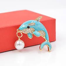 Cute Light Blue Dolphin Brooch for Women - Yubi Store