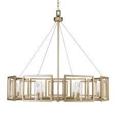 Marco Light Fixtures Golden Lighting Marco 8 Light White Gold Chandelier With Clear Glass Shade