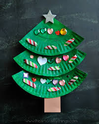 Paper Crafts For Christmas Paper Plate Laced Christmas Tree Craft Lace Christmas Tree Tree