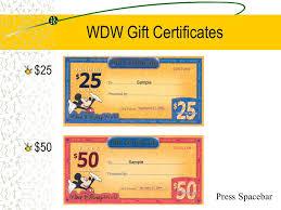 5 wdw gift certificates 25 50 press ebar