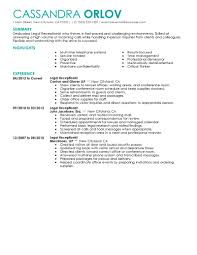 Cover Letter Resume For Secretary Receptionist Resume Example For