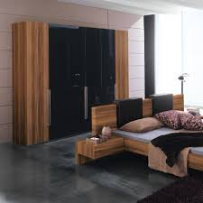 Exceptional Cozy Bedroom Cupboards With Dark Black Flooring And Wooden Furniture Couch  Bed Plus Gray Bedding Plus