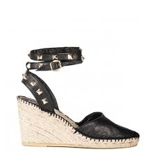 ash footwear winona black and light gold wedge sandal