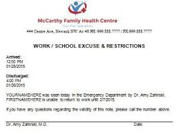 Excuse From Work Doctors Note Excuse Note For Work Zlatan Fontanacountryinn Com