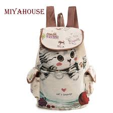 Miyahouse Casual Canvas School <b>Backpack Women</b> Lovely Cat ...