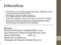 How To List Education On Resume Sample Resume For Education