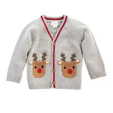 Heathered Gray Baby Reindeer Cardigan