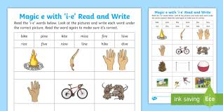 Check out our different sets of worksheets that help kids practice and learn phonics skills like beginning sounds, rhyming and more. Magic E With I E Read And Write Worksheet Teacher Made