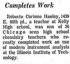 Roberta Corinne Hanley chemistry teacher - Newspapers.com