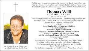 Traueranzeige Von Thomas Willi Vom 08032014