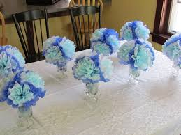 tissue paper flower centerpiece ideas homemade baby shower decoration ideas for boys blue white tissue