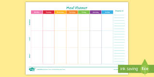 Weekly Meal Planer Staff Wellbeing Weekly Meal Planner