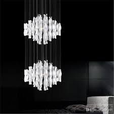hybrid type stair large chandelier modern glass pendant light fashion brief lighting fixture dining room compound droplight md8185 multi pendant light home
