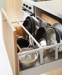 Close-up of open IKEA kitchen drawer. Pots and pans stored neatly with  dividers