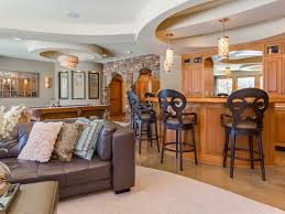 Decorations:Cool Finished Remodeling Basement Idea For Old Home Design  Traditional Bar Basement Decorating Idea