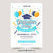 Graduation Announcements Template Graduation Invitation Template Flat Design Vector Free