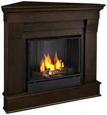 com cau corner gel fireplace in dark walnut home