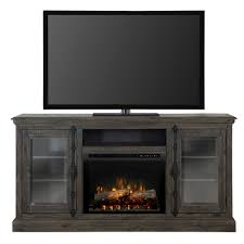 electric fireplace tv stand media console in weathered grey